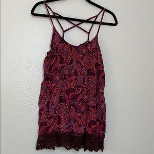 Mossimo paisley lace cross strap tank purple L
